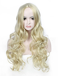 Hot Selling Blonde Color Long Wave Women Wigs Heat Resisting Syntheitc Wigs