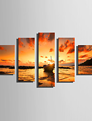E-HOME Stretched Canvas Art Boats Under The Setting Sun Decoration Painting Set Of 5
