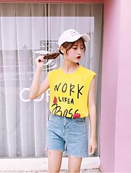Tee-shirt Femme,Lettre Quotidien simple Sans Manches Col Arrondi Autres