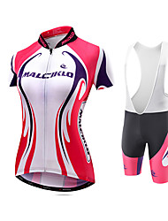 Cycling Jersey with Bib Shorts Women's Short Sleeves Bike Jersey Compression Clothing Tights Padded Shorts/Chamois Bib Tights Quick Dry