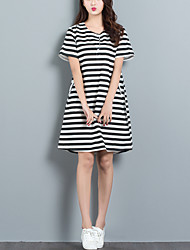 Women's Casual/Daily Chinoiserie Loose Dress Striped Round Neck Above Knee Short Sleeve Cotton /Linen Summer Mid Rise Inelastic Thin