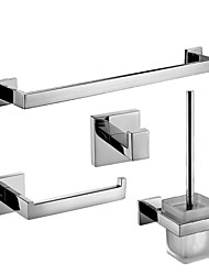 Mordern Silver Color 4PC Brass Bathroom Accessory Set  Towel Bar Paper Holder Hook Brush and Holder