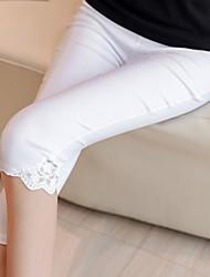 Feminino Simples Cintura Alta strenchy Chinos Calças,Skinny Cor Única,Rendas