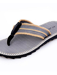 Men's Slippers & Flip-Flops Linen Spring Black Gray Yellow Flat
