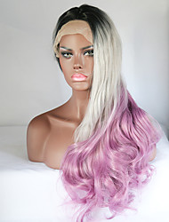 Black/Silver Grey/Purple Ombre Wig Synthetic Lace Front Wig Grey Body Wave Glueless Long Natural Gradient Wig Heat Resistant Hair Wigs