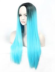 Mujer Pelucas sintéticas Sin Tapa Largo Liso Azul Peluca natural Peluca de Halloween Peluca de carnaval Las pelucas del traje