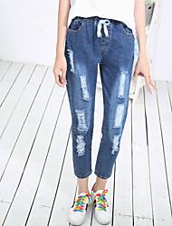 Women's High Rise Inelastic Harem Jeans Pants,Simple Harem Solid