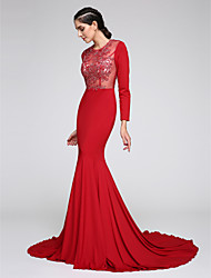 TS Couture Formal Evening Dress - See Through Fit & Flare Jewel Court Train Jersey with Appliques