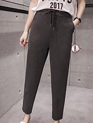 Women's Mid Rise Inelastic Harem Pants,Simple Harem Solid