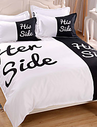 bedding set 3pcs or 4pcs his side king queen twin size polyester/cotton duvet cover black and white color