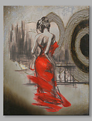 Abstract Oil Painting The Back of A Girl in Red Dress Framed Handmade Oil Painting For Home Decoration