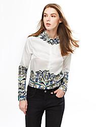 Women's Formal Work Sophisticated Spring Shirt,Print Shirt Collar Long Sleeve Polyester Medium