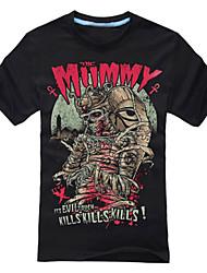 Movie  Mummy Cosplay Costumes Skeleton/Skull Ghost Movie Cosplay Black T-shirt Halloween Carnival Cotton