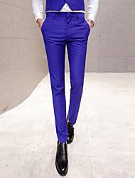 Homme simple Taille Normale Micro-élastique Costume / Tailleur Pantalon,Mince Couleur unie Couleur Pleine