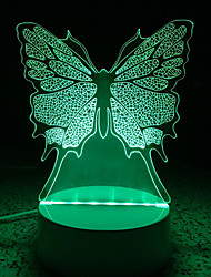3D Acrylic Butterfly LED Lamp Discoloration Night Lights for Kids Room Decorative Lamps Remote Control Animals Lights Lamps for Family
