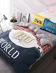 4 pcs Bedding Set Cotton for Youth Yong lovers Creative Literature Printed Duvet Cover and Bed sheet Pillow Cases