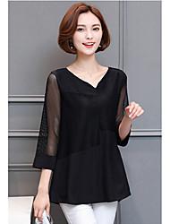 Damen Solide Einfach Alltag T-shirt,V-Ausschnitt 3/4 Ärmel Baumwolle Polyester