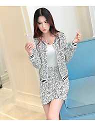 Women's Casual/Daily Cute Spring Shirt Skirt Suits,Polka Dot Round Neck Long Sleeve Micro-elastic