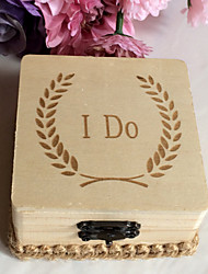 Wooden I DO square ring box - original wood color