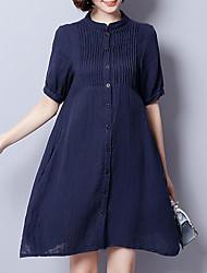 Ample Robe Femme Décontracté / Quotidien Travail Grandes Tailles Vintage simple,Couleur Pleine Col Ras du Cou Au dessus du genouManches