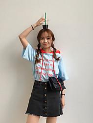 Damen Buchstabe Retro Ausgehen T-shirt,Mit Kapuze Sommer Kurzarm Baumwolle