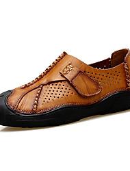 Men's Loafers & Slip-Ons Comfort Real Leather Cowhide Spring/Fall Summer Casual Outdoor Office & Career Hiking ComfortHook & Loop Split
