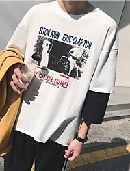 Herren Muster Einfach Normal T-shirt,Rundhalsausschnitt 3/4 Ärmel Baumwolle