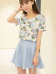 Women's Going out Formal Summer Blouse Pant Suits,Solid Floral Round Neck Short Sleeve Micro-elastic