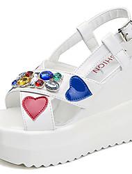 Women's Sandals PU Summer Walking Rhinestone Wedge Heel White Black 3in-3 3/4in