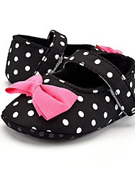 Baby Kids' Loafers & Slip-Ons First Walkers Fabric Summer Fall Party & Evening Dress Casual Bowknot Polka Dot Flat Heel Black Flat