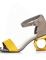 Women's Sandals PU Spring Summer Buckle Chunky Heel Black Yellow Screen Color 2in-2 3/4in