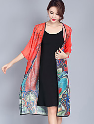 Women's Casual/Daily Simple Spring Summer Trench Coat,Print Cowl Long Sleeve Long Polyester