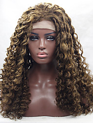 Top Selling Brown Blonde Curly Fiber Hair Half Handmade Heat Resistant Glueless Synthetic Lace Front Wigs