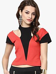 Damen Solide Einfach T-shirt,Rundhalsausschnitt Kurzarm Bambusfaser