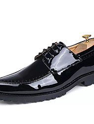 Men's Oxfords Contemporary Classic & Timeless Fashion PU All Seasons Party/Evening Business Daily Lace-up Flat Heel Burgundy Black1in-1