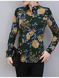 Women's Casual Simple Shirt,Print Stand Long Sleeve Cotton