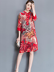 Women's Going out Loose Dress,Print Round Neck Knee-length Others Summer Mid Rise Inelastic Thin