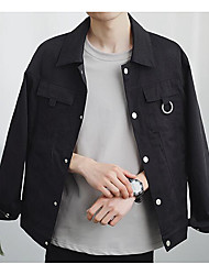 Men's Daily Modern/Comtemporary Spring Jacket,Solid Shirt Collar Long Sleeve Regular Others