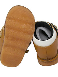 Girls' Flats First Walkers Cowhide Spring Fall Casual Walking First Walkers Magic Tape Low Heel Yellow Flat