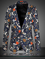 Men's Casual/Daily Party Vintage Chinoiserie Spring Fall Blazer,Floral Stand Long Sleeve Regular Cotton Polyester Oversized