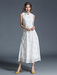 SUOQI Women Summer Dress Chinoiserie Stand Collar White Feathers Embroidery Slim Vintage Dresses