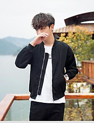 Men's Other Casual Casual Basic All Seasons Jacket,Solid Embroidery Round Neck Long Sleeve Regular Cotton