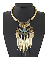 Vintage Fashion Bohemian Colar Collier Boho Ethnic Necklaces Beads Leaf Tassel Chokers Necklaces Rhinestone Turquoise Statement Necklace Women