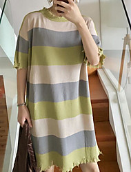 Women's Going out Long Cardigan,Striped Asymmetrical ½ Length Sleeve Cotton Spring Summer Thin Micro-elastic