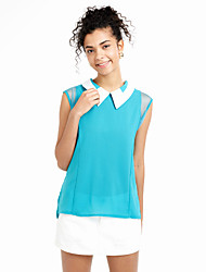 Women's Shirt Collar Chiffon Sleeveless Blouse