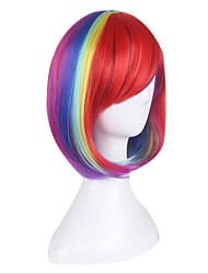 Synthetic Wig for Cosplay Short Straight Bobo Ombre Red/Yellow/Pink/Green Costume Wig Cosplay Wigs
