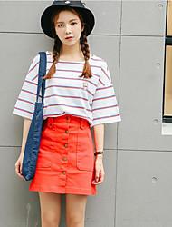 Damen Gestreift Einfach T-shirt,Rundhalsausschnitt Sommer Kurzarm Baumwolle Dünn