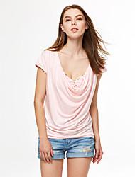 Damen Solide Sexy Lässig/Alltäglich T-shirt,V-Ausschnitt Sommer Kurzarm Polyester Dünn