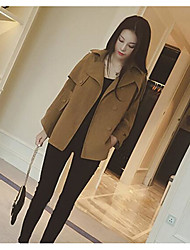 Women's Casual/Daily Street chic Fall Winter Fur Coat,Solid Shawl Lapel Long Sleeve Regular Polyester