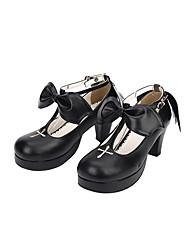 Chaussures Doux Lolita Classique/Traditionnelle Lolita Princesse Fait à la Main Talon Aiguille Couleur unie Nœud papillon Brodée 6.5 CM
